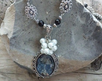 Black and Silver Vintage Style Beaded Necklace with Oval Pendant