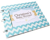Baby Shower Guest Book - Aqua Chevron