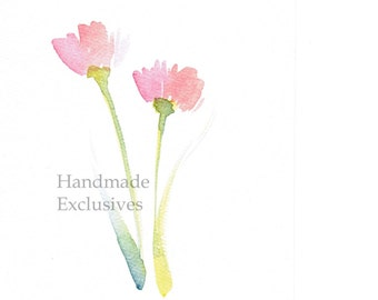 Handpainted Greeting card, tulip, Spring flower, pink, Watercolor Card, Easter, valentine's day, Blank, under 10, Handmade Exclusives