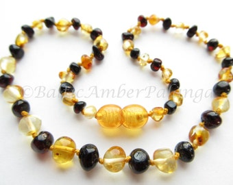 Baltic Amber Baby Teething Necklace,  Rounded Lemon and Dark Cherry Color Beads