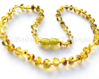 Baltic Amber Teething Necklace, Light Green Beads