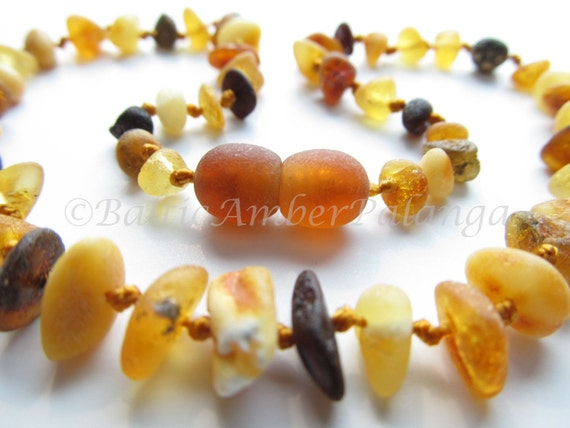 Raw Unpolished Baltic Amber Baby Teething Necklace Multicolor Beads