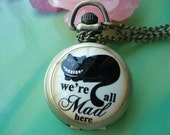 Small antique bronze painted Ceramics lovely cats pussy Round Pocket Watch Locket Necklaces with Chains