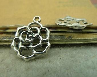 20 pcs 21x17mm Antique Silver hollow rose flowers Charms Pendants fc93694