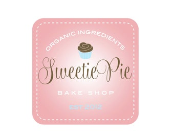 Custom Logo Design Premade Logo Design and Watermark for Photographers Small Crafty Boutiques and Bakeries Pink Square Frame with Cupcake