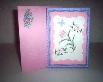Stitched flowered sympathy card
