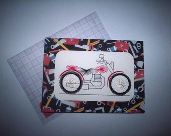 Stitched motorcycle birthday card
