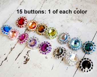 Acrylic Rhinestone Buttons - Large Rhinestone Buttons - 23mm Colored Rhinestone Buttons - Set of 15 - 1 of Each Color - Large Bling Button