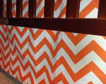 Orange Chevron Straight Crib Skirt