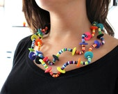 Polymer clay necklace, handmade necklace, polymer clay jewelry, OOAK necklace, tribal necklace, DIY jewelry, handmade jewelry, DIY necklace