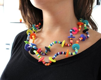 Happy Worms. Long Necklace.