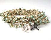 Sand and Surf - Sea foam green crochet wrap bracelet