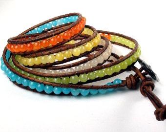 Summer Fling 5x Leather Wrap Bracelet Mountain Jade