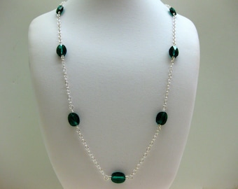 Long Emerald Crystal Necklace - FREE SHIPPING