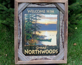 Barnwood framed with decorative  Welcome to the Great Northwoods photo