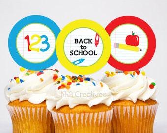 Back To School Themed Cupcake Toppers - School Supplies -  DIY Printable Digital File