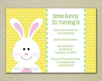 Birthday Bunny Party Invitation - Personalized DIY Printable Digital File