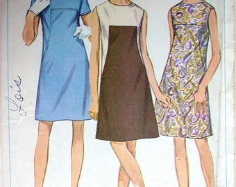 """Simplicity Dress Pattern No 7535 Vintage 1960s Size 16 Bust 38"""" Sleeveless or Short Sleeves Collarless A Line Back Zipper Color Block"""