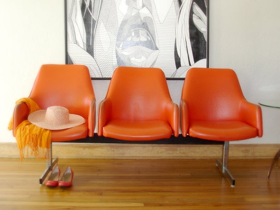10 Off Vintage Retro Orange Airport Or Gang Chairs Lobby