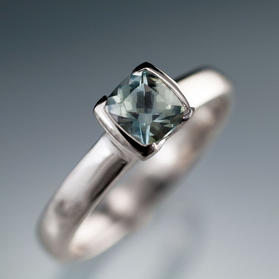 Green-Blue Sapphire Engagement Ring, Cushion Cut Half Bezel Solitaire in Palladium, Platinum or white and yellow Gold