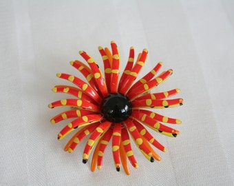 Yellow Orange and Black WOW Brooch