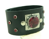 Orgone Energy Bracelet - Leather Cuff Bracelet - Red Garnet Gemstone - Bling Bracelet - Artisan Jewelry