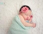 Baby Headband...Shabby Rosette Headband...Baby Bows...Photography Prop...Shabby Chic Headband...Baby Girl Headband...Shabby Chic