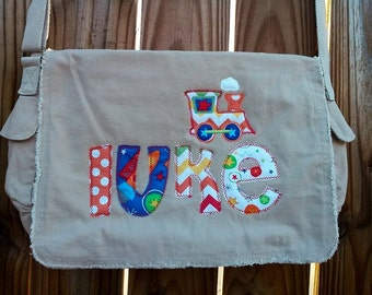 Large Raw Edge Messenger Bag or Diaper Bag with Personalized Name and matching applique- Blue, Orange, Brown