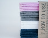 Baby Wipes Cloth Wipes Set of 20  -  Baby Wipes - Reusable Flannel Wipes (Pink- Grey- White - Blue)