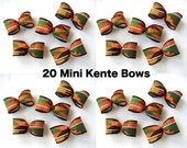 "SET 20 MINI KENTE Bows - Size of each: 1-3/8"" x 3"" - Supply to use as you wish!"