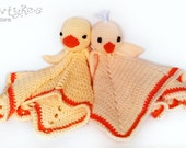 Chick and Duck Lovey CROCHET PATTERN instant download - blankey, blankie, security blanket