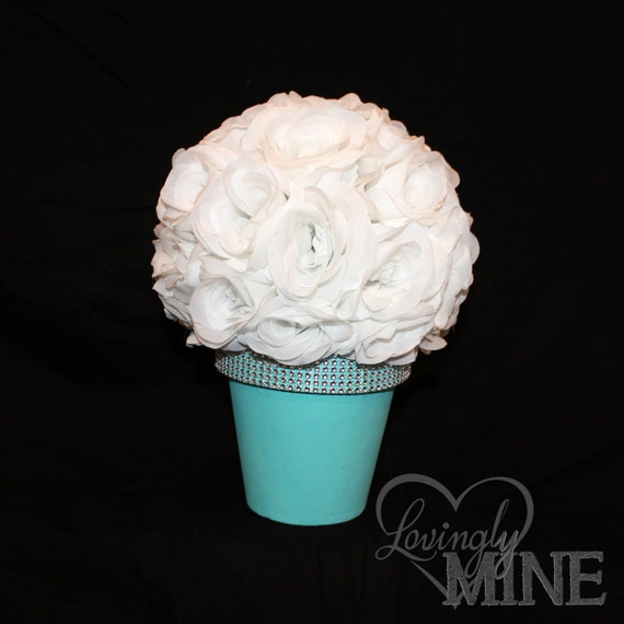 Items similar to centerpiece white rose ball on a
