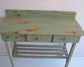 Potting Bench Cottage Chic Green with Two Drawers