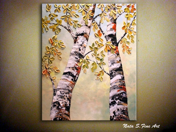 ORIGINAL  Birch Tree Painting Landscape Contemporary Painting.Impasto,Palette Knife.Leaves Birch Tree Painting.Wall Art Decor  - by Nata S.