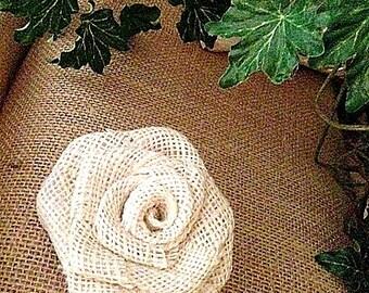 Burlap Roses, Ivory, Natural , Rustic Wedding  Burlap Flower, Handmade Burlap Rose, Rustic  Home Decor,  Rustic, Embellishment