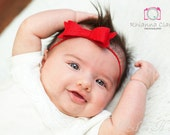 Red Felt Bow Headband for Babies- Classic Holiday Hair Accessory or Photo Prop- Infant headband- Toddler Bow- Red Baby Headband- Baby Bow