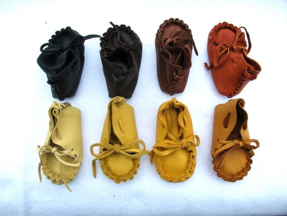 Deerskin Baby Moccasins, Handmade, Natural Colors, baby shoes, baby gifts