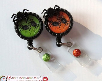 Itsy Bitsy Spider Halloween Badge Reel - Halloween Badge Reels - Holiday Badge Clips - Spider Badge Reels - Designer Badge Reels - Fun IDs
