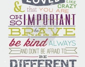 Be Different from the World, family motto print