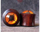 3/4 Orange Eye Wood Ear Plugs, Ear Gauges, Wood Plugs, Plugs Gauges, Organic Ear Plugs, Gauges, Glass Gauges, Earlets, Pierced Eye Design