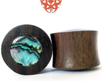 0g Wood Ear Plugs, Organic Paua Shell Inlay, Ear Gauges, Wooden Plugs, Wood Ear Plugs, Abalone, Wooden Gauges, Earlets, Pierced Eye Design
