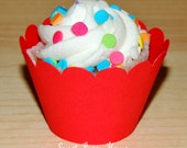 24 Cupcake Wrappers - Scallop - Red (Cardstock) (Party, Mickey Mouse Colors, Baby Shower, Mickey Wedding, Minnie, Baby)