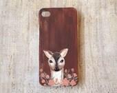 Handpainted Baby Deer on Faux Wood iPhone 4 or 4s case