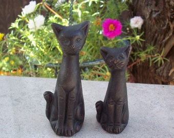 Hand Sculpted Cats  Set of 2  Hand Sculpted from Clay