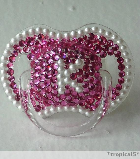 Swarovski INITIAL Pacifier With Pearls And Or By Tropical5