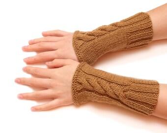 Brown wrist warmer - brown armwarmer, handwarmer, arm fingerless, gloves, mittens, hand knitted fingerless, woolen gloves, special for women