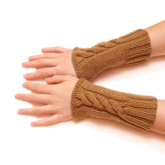 Brown wrist warmer - brown armwarmer, handwarmer, arm fingerless, gloves, mittens, hand knitted fingerless, woolen gloves, special for women