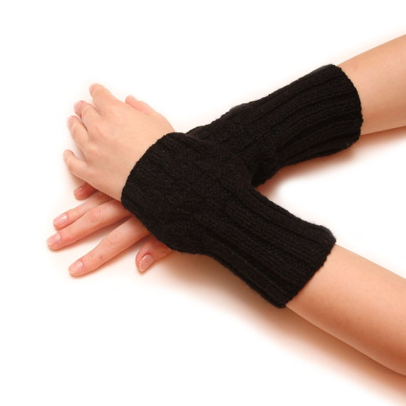 Black wrist warmer - Soft arm woolen fingerless gloves mittens, hand knitted fingerless, arm warmers, armwarmers, hand warmers, handwarmers