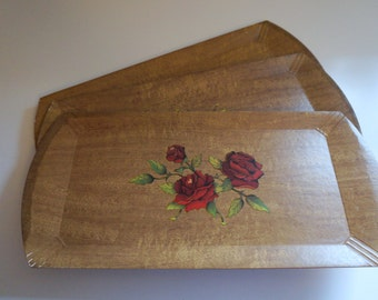 "Set of Three (3) Retro Hasko Trays with Red Roses 16"" x 8"" Lap Tray TV Tray - Floyd Jones Vintage"