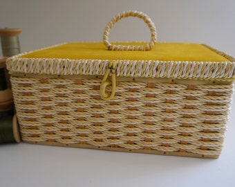Darling Braided Sewing Basket with Golden Yellow Velvet Lid - JCPenney Made in Japan